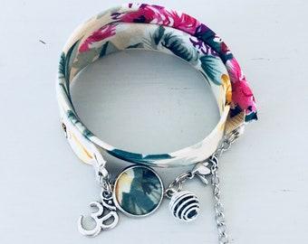 Liberty beige flowered woman bracelet, lucky bracelet, Liberty jewel, flower bracelet, woman gift, gift idea