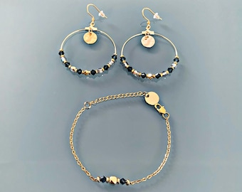 Blue and gold hoop jewelry and bracelet set, gold plated irregular pearl bracelet, gift idea for women, gift jewelry