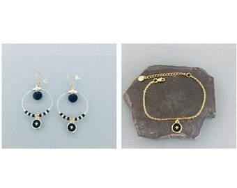 Gold cross stainless steel jewelry set, cross creole adornment and cross bracelet, gift idea, cross jewel, woman gift idea, gilded jewel
