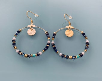 Golden Creole earrings with pendant and stones, Bohemian golden hoops with Swarovski stones and gold plated pearls, jewelry for women