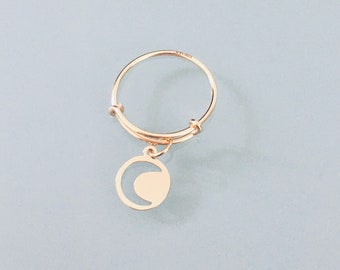 24k gold plated ring with moon pendant, golden ring, celestial ring, golden woman ring, lucky ring