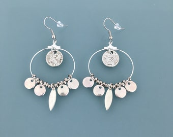 Silver creole earrings in stainless steel with silver tassels, silver ladies jewel, silver creoles