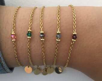 Woman gourmet bracelet natural stone and 24k gold-plated Heishi pearls, gold bracelet, gift idea, bracelet, gift jewelry, woman jewelry