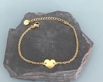 Bracelet gourmette heart 24k gold, woman bracelet, gift idea, jewelry gifts, heart jewel, gold bracelet, gold heart bracelet
