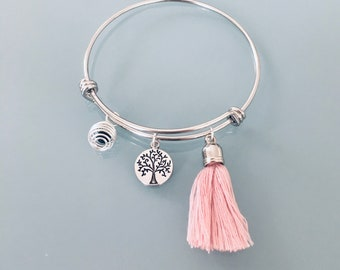 Stainless Steel Tree of Life Bangle Bracelet with Tassel and Pearl Perfume, Stainless Steel Bracelet, Gift Idea, Jewelry Gifts