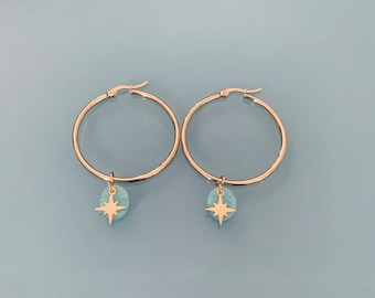 Moon hoops, Golden moon hoops earrings and turquoise and gold beads, women's jewel, gold creoles, gilded jewel, jewelry gifts, women's gift