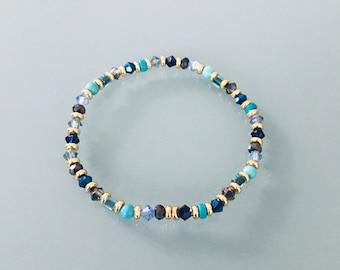 Bracelet femme en perles multicolores et Heishi or