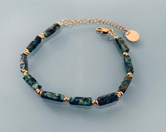 African turquoise bracelet, gourmet woman bracelet magic natural stones and 24k heishi beads, gold bracelet, gift jewelry