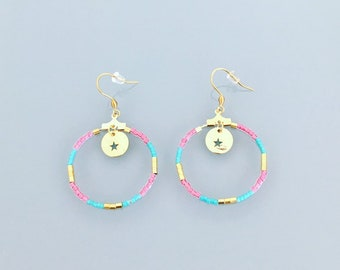 Pink tribal earrings, Pink Earrings, Gold Hoop Earrings, Hoop earrings gold, Turquoise Jewerly