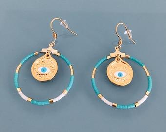 Ethnic greek eye earrings and miyuki pearls, gem for woman, gilded creoles, evil eye jewel, jewelery gifts, woman gift, ethnic woman jewel
