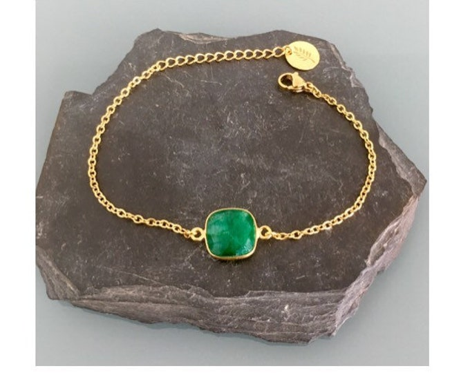 Featured listing image: 24K Gold Plated emerald Curb Bracelet, Gold Bracelet, Gift Idea, emerald Bracelet, Gift Jewelry, Gold Woman Jewelry
