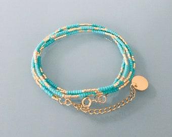 Miyuki bracelet convertible necklace, bracelet women multirank beads, gold bracelet, gift idea, gold bracelet, gift jewellery, gold jewel