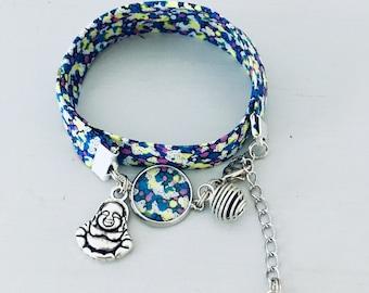 Buddha Liberty woman bracelet with flowers and perfume beads, Buddhist bracelet, blue bracelet, Liberty jewel, bracelet, jewelry gifts