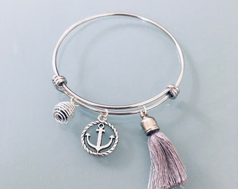 Stainless steel bracelet with anchor, tassel and perfume bead, stainless steel bracelet, gift idea, gift jewelry, lucky jewel, anchor jewel