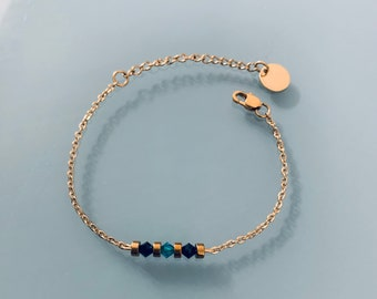 Woman gourmet bracelet magical natural stones Swarovski and heishi pearls plated gold 24 k, gold bracelet, gift jewelry, gold women's jewel