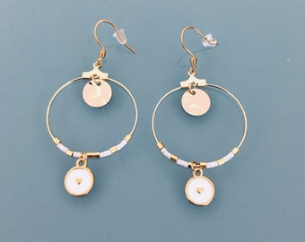 Heart hoops, gold heart creole earrings and white and gold pearls, gold creoles, gilded jewel, jewelry gifts, women gift