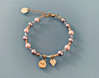 Pearl and North Star bracelet, gray pearl, rose, copper and 24k gold plated Heishi pearls bracelet, golden bracelet, gift