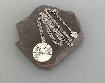 Stainless Steel Palm Tree Necklace, Palm Necklace, Palm Tree Jewelry, Long Necklace, Woman Jewelry, Woman Gift Idea, Jewelry Gifts