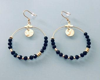 Heishi Creoles, Bohemian Creoles, Golden Creole Earrings and Black Pearls, Women's Jewelry, Gold Creoles, Women's Gift, Women's Jewelry