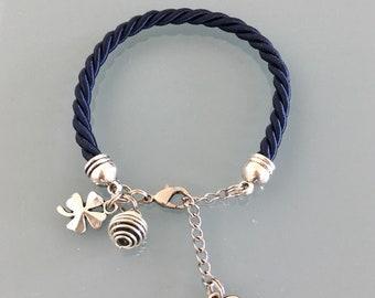 Navy woven silk perfume bracelet with clover, jewelry gifts, woman bracelet, clover jewelry, birthday woman gift idea