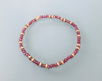 Women's bracelet beads ruby red and Heishi gold, gold bracelet, beaded bracelet, gift jewelry, jewel woman or Christmas gift