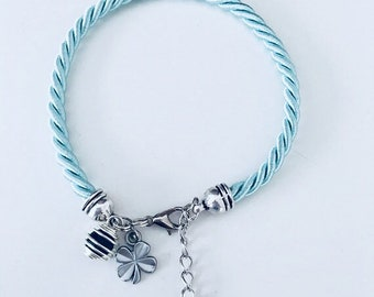 Turquoise woven silk perfume bracelet with clover, jewelry gifts, woman bracelet, clover jewelry, birthday woman gift idea