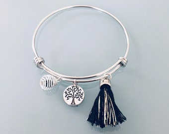 Silver Bangle Bracelet with Tree of Life, Tassel and Perfume Pearl, Silver Woman Bracelet, Gift Idea, Gift Jewelry, Lucky Jewel