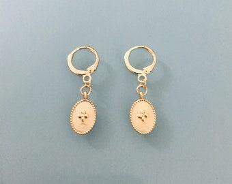 Crosses hoops, gold cross earrings, gemstone earrings, gilded creoles, gilded jewel, gift jewelry, women's gift, jewel