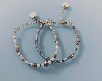 Set of 2 Pearl Bracelets, Women's Curb Bracelets, Natural Magic Stones and 24k Gold Plated Heishi Beads