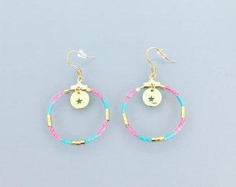 Pink tribal earrings, Pink Earrings, Gold Hoop Earrings, Hoop earrings gold, Turquoise Jewerly