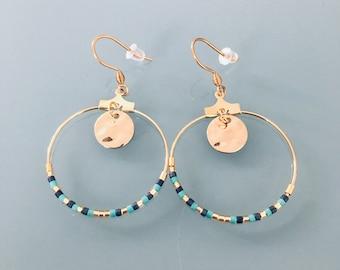 Gold ethnic creoles and miyuki pearls, women's jewel, golden creoles, gilded jewelery, jewelry gifts, women's gift, ethnic women's jewel