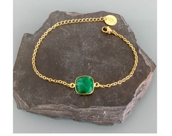 24K Gold Plated emerald Curb Bracelet, Gold Bracelet, Gift Idea, emerald Bracelet, Gift Jewelry, Gold Woman Jewelry