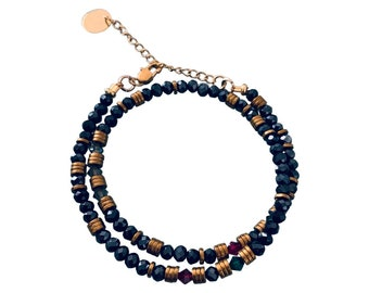Cuff bracelet with midnight blue pearls and Swarovski stones convertible into a necklace, Woman multirang pearl bracelet, golden bracelet