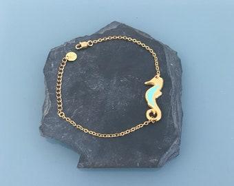 Bracelet woman gourmette seahorse in silver, woman bracelet, gift idea, jewelry gifts, seahorse jewel, woman bracelet silver