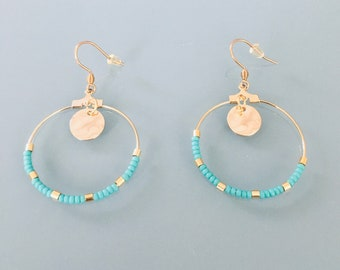 Golden Creole earrings in stainless steel and gold and turquoise beads, women's jewelry, gift jewelry, women's gift, women's gift idea