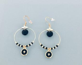 Cross hoops, gold cross and black pearl hoop earrings, jewel for woman, golden creoles, gilded jewel, jewelery gifts, woman gift, jewel