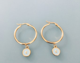 North star hoops, Golden and Amazonite North star hoop earrings, jewelry for women, golden hoops, golden jewelry, gift jewelry, woman gift