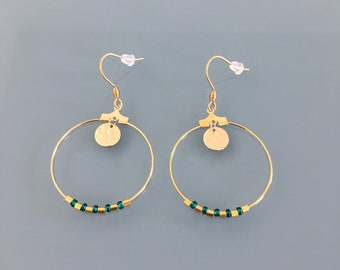 Gold creole earrings and green pearls, women's jewelery, golden creoles, gilded jewelery, jewelry gifts, women's gift, women's jewel