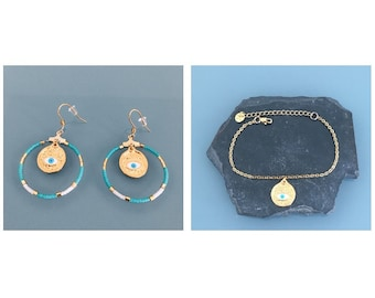 Greek gilded gold eye jewelry set, creole adornment and evil eye bracelet, gift idea, greek eye jewel, woman gift idea, gilded jewel