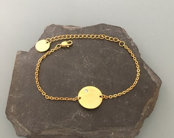 Gourmet women's bracelet with medal and zirconium, gold bracelet, gift idea, zircon bracelet, gift jewelry, gold jewelry