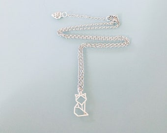 Silver fox necklace, silver jewel, fox jewel, lucky necklace, gift jewelry, fox, gift