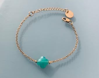 Clover bracelet, lucky 4 leaf clover bracelet and gold Heishi pearls, golden bracelet, stone bracelet, gift jewelry