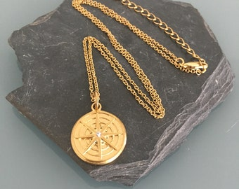 Star gold stainless steel star necklace, golden necklace, gilded jewel, moon necklace, moon woman jewel, woman gift idea