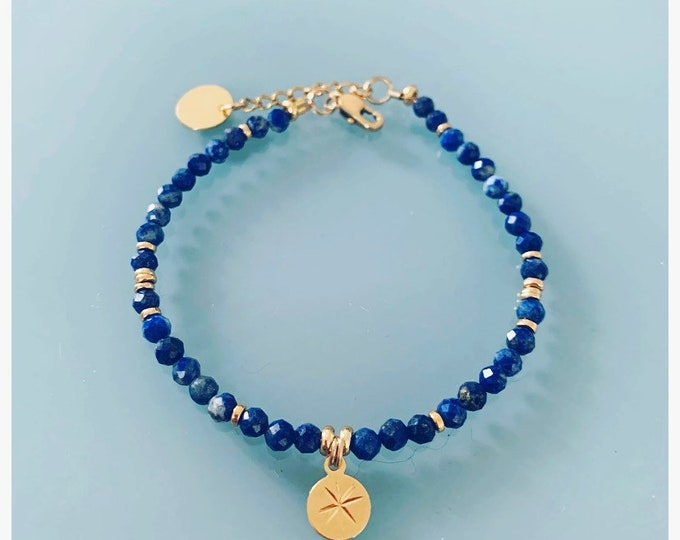 Featured listing image: Lapis Lazuli bracelet and pink winds, gourmet woman bracelet magic natural stones and 24k heishi beads, gold bracelet, gift jewelry