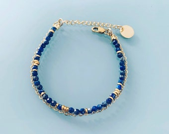Double Lapis Lazuli bracelet, woman's curb bracelet with natural magic stones and 24k gold plated Heishi pearls