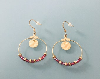 Gold-plated Ruby Creoles and Heishi Pearls, Golden Creole Earrings, Women's Jewelry, Gold Creoles, Gold Jewelry, Gift Jewelry, Women's Gift