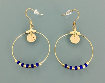 Golden Creole earrings, creoles with pendant and stones, golden rings, golden jewellery