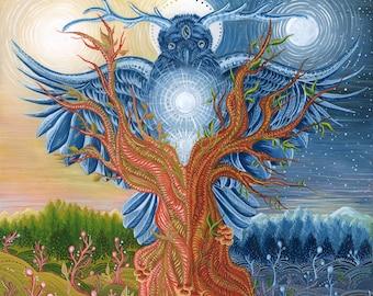 Mystical Tree Bird. Meditation Art Prints.Raven.Owl.Nature Illustration.Painting.Wall Art.Fine Art.Esoteric.Spiritual