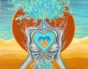 Letting Go Nude Woman Art Prints.Surreal.Psychedelic.Divine Feminine.Illustration.Esoteric.Wall art.Spiritual.Self love.Dark. Psychedelic