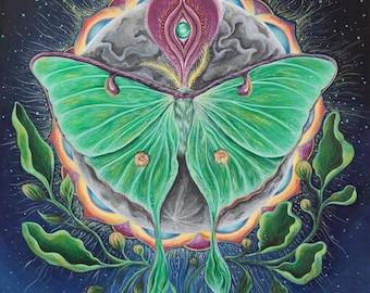 Luna Moth Print.Moon.Mystical.Magical.Spiritual Art.Meditative Art.Visionary.Feminine.Spirit Animal.Moon Guide. Astrology.Symbolism.Surreal